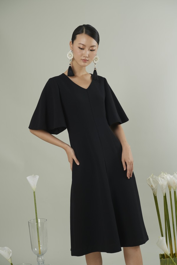 Balloon-sleeved faille dress
