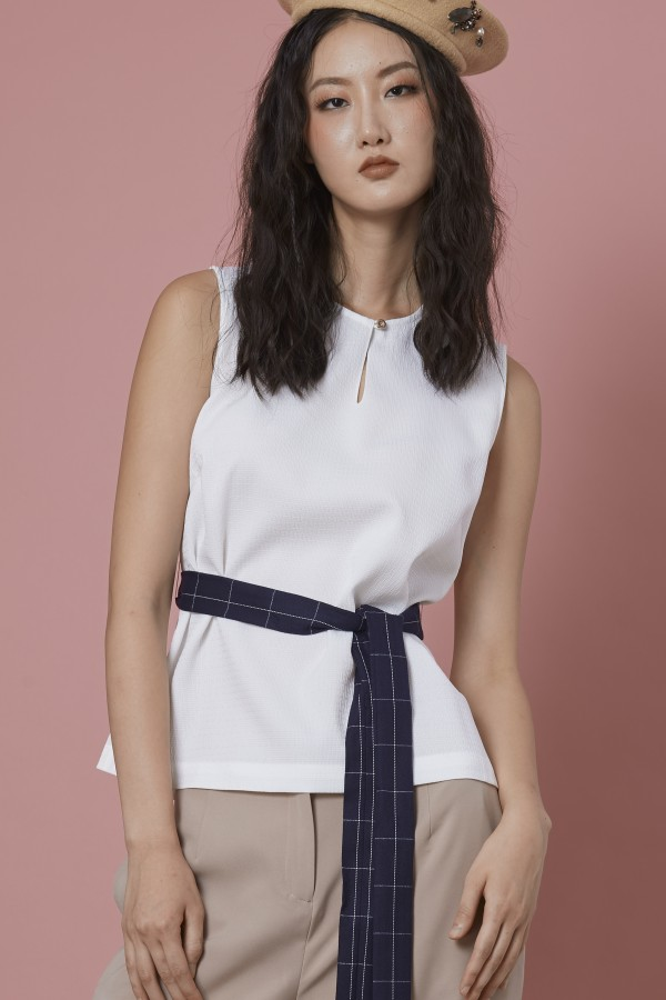 White Top With Tie Belt