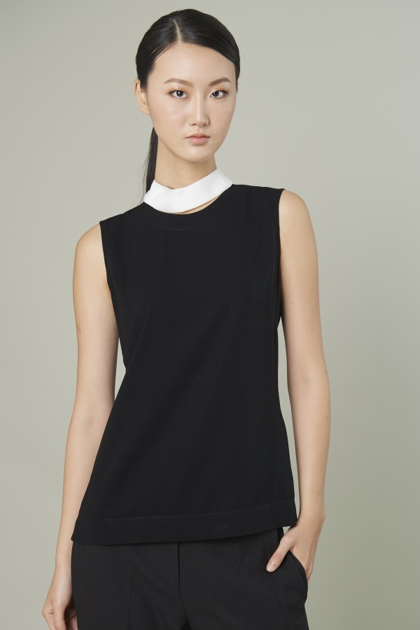 Black High - necked blouse
