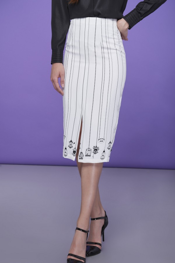 Signature Bird Cage Pencil Skirt