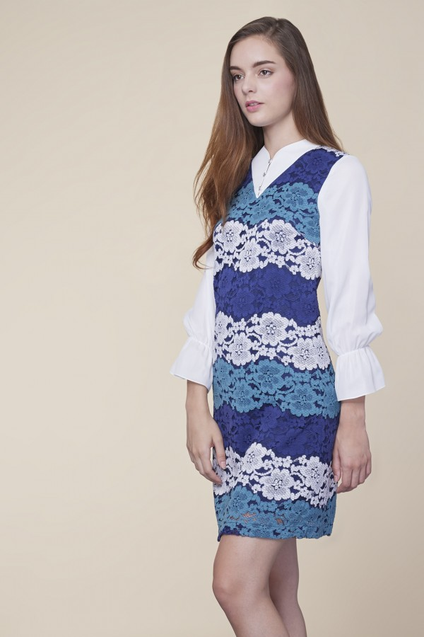 Blue Floral  Lace Frill Sleeve Dress